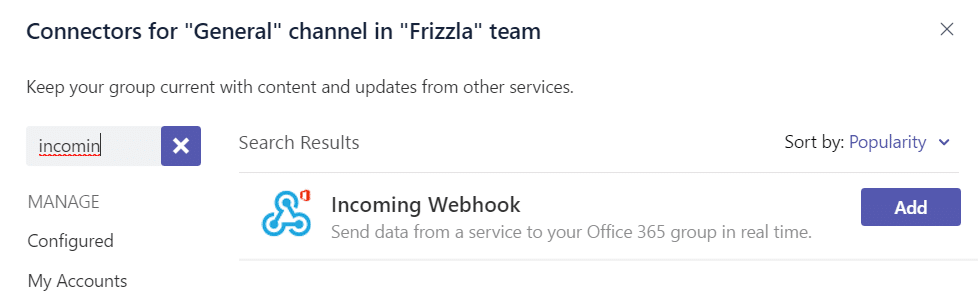 Create an incoming Webhook Connector in Teams
