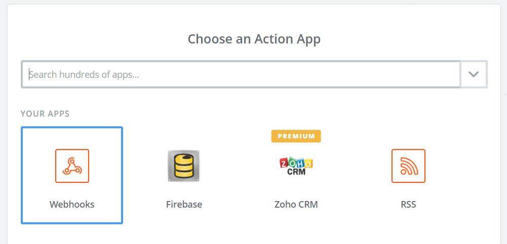 Choose a Webhook App from Zapier