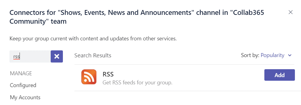 Add an RSS Connector in Teams
