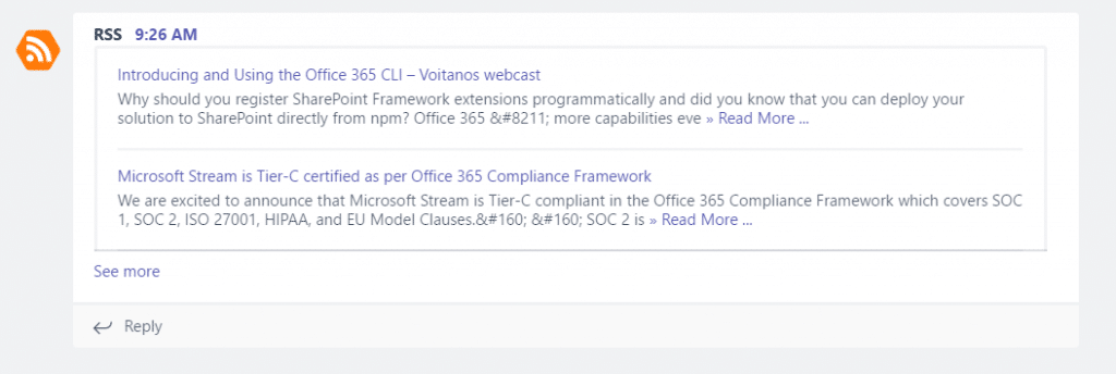 How to publish an RSS feed post to Microsoft Teams as a Card (using