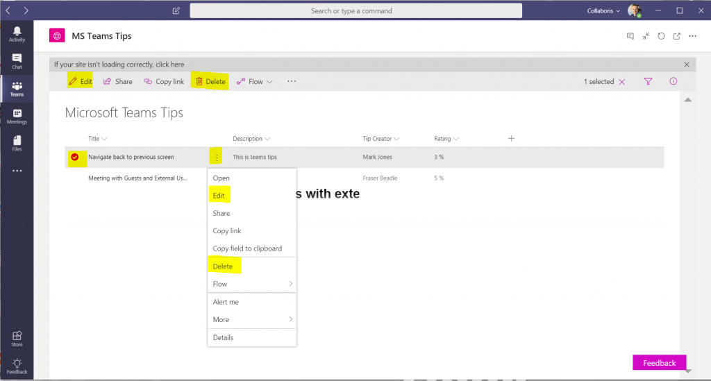 Viewing SharePoint Lists from within Microsoft Teams just