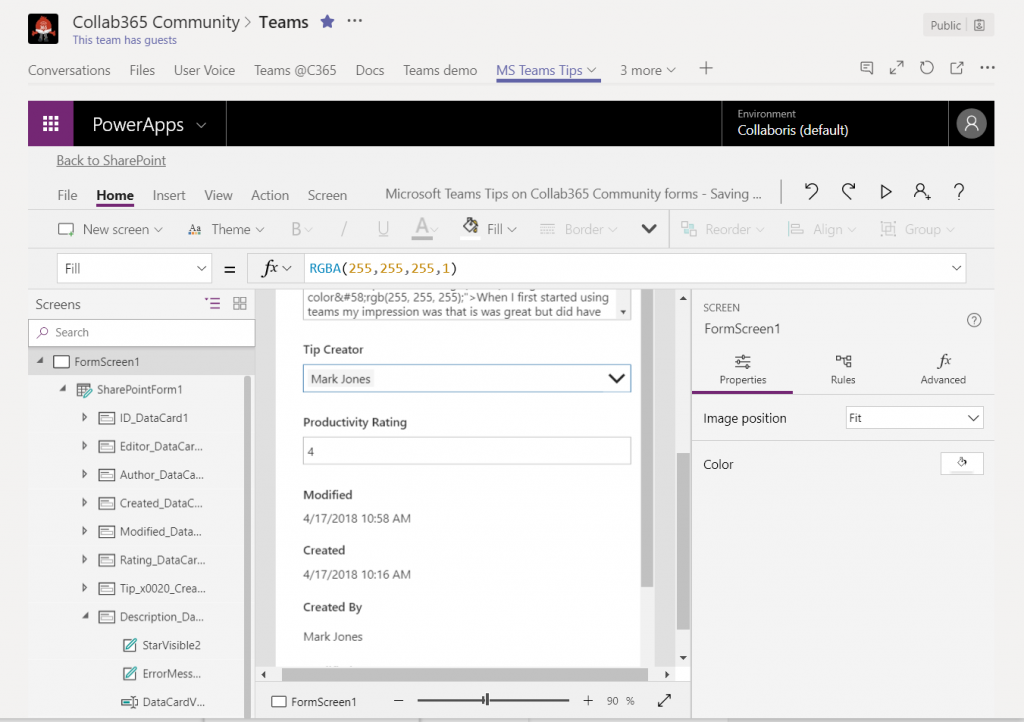 Customise List Form From Within PowerApps