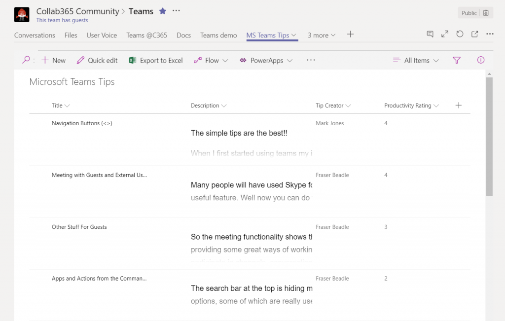 viewing sharepoint lists from within microsoft teams just got cool