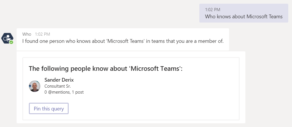 Who - bot: Who knows about Microsoft Teams