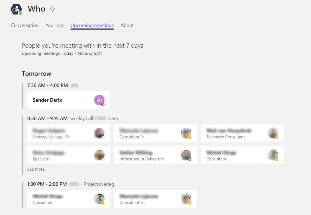 Who bot - Upcoming meetings tab