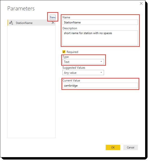 Add Parameter dialog