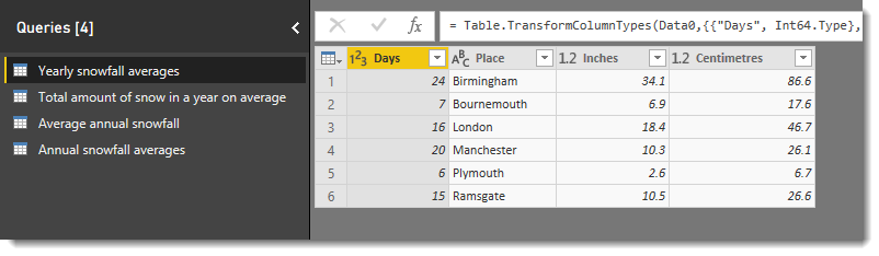4 queries in power query