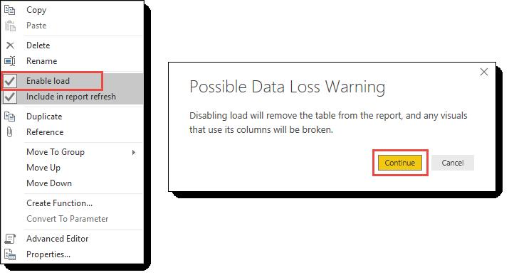 Preventing data load