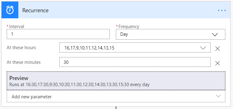 Recurrence trigger configured for a daily schedule
